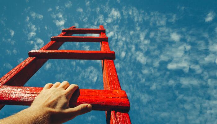はしごをのぼる画像